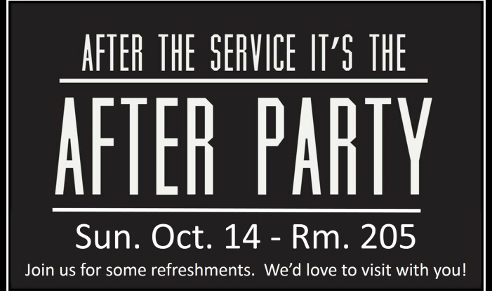 After Party!  October 14. 2018 - Oct 14 2018 10:30 AM