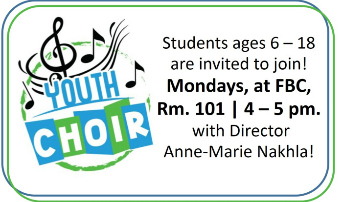 Youth Choir @ FBC - Mondays 4:00 PM